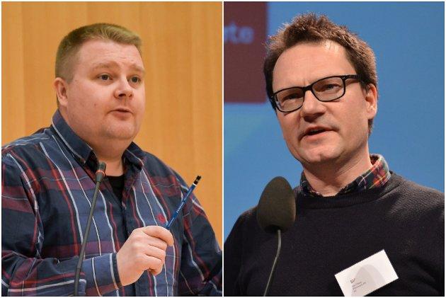 UENGIHETER: Jan Olsen (t.h.) ønsket ikke Tommy Berg som førstekandidat hos SV i Finnmark. Nå beklager han overfor Berg.