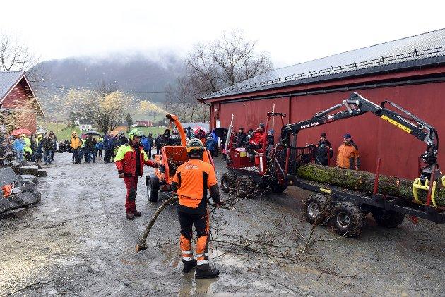 Laurdag føremiddag strøymde rundt 200 personar til Søre Kvinnherad skogeigarlag og Sandvik Landbruk sin skogdag i Omvikdalen. Her er det ein mobil greinfres som blir demonstrert.