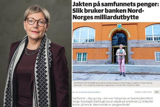 Der det viktig å understreke at vi er svært opptatt av legitimitet, habilitet og å følge de lover og regler som rammer inn sparebankenes samfunnsutbytte, skriver Liv Ulriksen, konsernsjef SpareBank 1 Nord-Norge. Til høyre er en faksimile av en av sakene Nordlys har skrevet om  SpareBank 1 Nord-Norges anvendelse av samfunnsutbyttet.