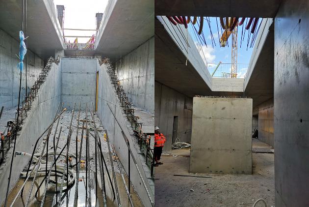Her ser man forsiden og baksiden på en av trappene som bygges opp til plattform 1.  Det blir trapper og ramper på hver side av undergangen og opp til plattformene. I tillegg kan man nå hver av plattformene med heis.  Foto: Bane NOR/Follobaneprosjektet