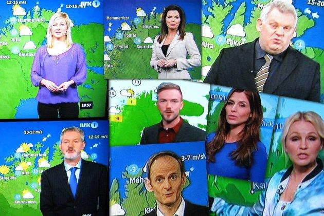 Værmelderne i NRK og TV2 har alle til felles at de dekker for Øst-Finnmark når de melder været.