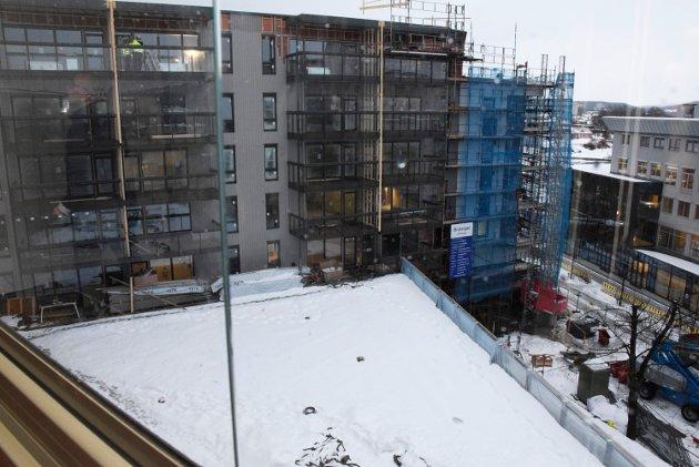 Området: Utsikt fra balkongen ned mot fellesområdet til boligkomplekset. Her blir det en grønn oase, uforstyrret og tilbaketrukket fra gaten.