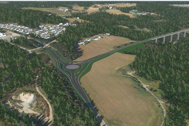 Ny E16 mellom Eggemoen og Hensmoen/Nymoen. Korridor C, redusert løsning (veivesenets anbefaling). Ilustrasjonen viser nytt kryss sør for Hensmoen. Ny bru over ravinedalen til høyre.