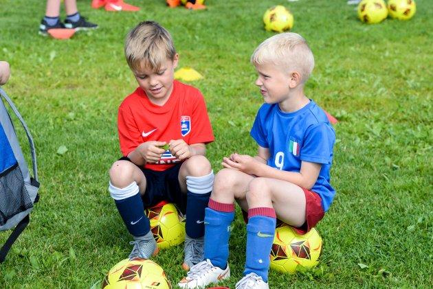 FOTBALLSKOLE: Rundt 150 barn var på plass på Svendsrudmoen Stadion da Holeværingen arrangerte Tine Fotballskole 24.-26 juni.