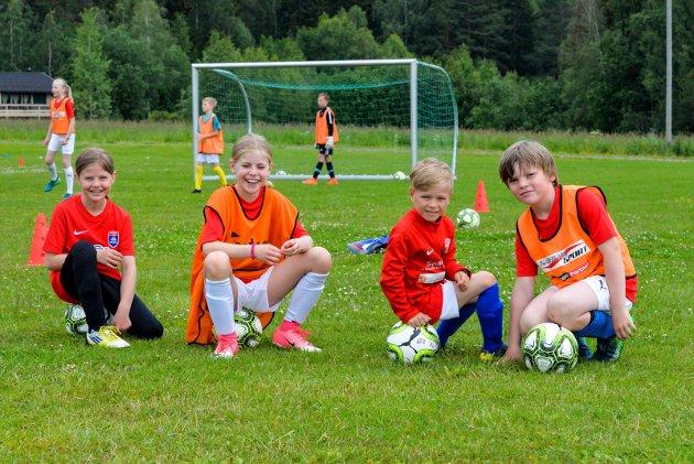 FOTBALLSKOLE: Det var full aktivitet på Jevnaker Stadion da Jevnaker IF arrangerte Tine Fotballskole 24.-26. juni.
