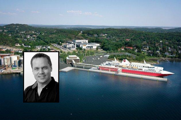 Fjord Line planlegger ny ferjeterminal på Vera på Vesterøya. Rederiet har inngått avtale med Jotun om å kjøpe det 77 mål store området. Men går regnestykket opp? spør ansvarlig redaktør og daglig leder Steinar Ulrichsen (innfelt).