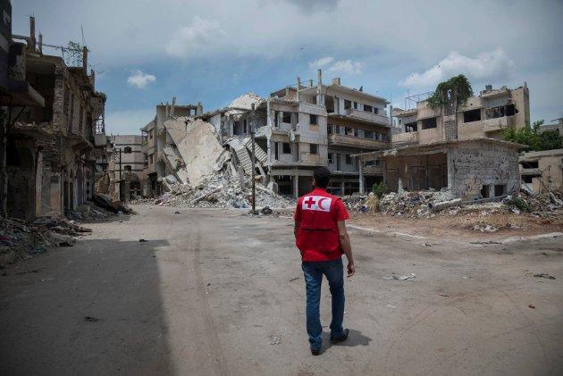 KNUST:  Homs I Syria, ble knust i mai 2015.Nå vil Rødt Notodden ha sluttbrukerdokumentasjon og reeksportforsikringer.  (Illustrasjonsfoto)