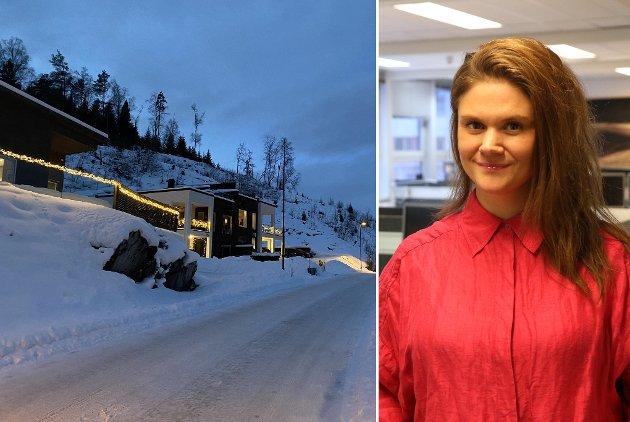 FRAMLEIS LYS: I gata der Eline Kirkebø bur, er det mange som enno har julelysa oppe. Det har ho også sjølv, etter å ha tenkt at akkurat i år – då betyr dei meir enn berre jul.