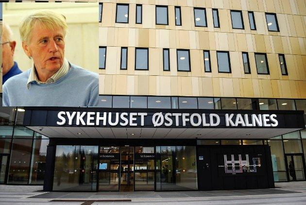 MISFORNØYD: Eddy Kobbel (innfelt) ber i dette leserbrevet Vestby kommune stille krav til Helse Sør Øst og ledelsen ved Sykehuset Østfold.