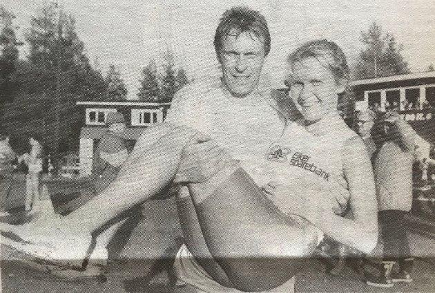 Kristen Aaby gjorde et kjempeløp da han kom inn på dagens bestetid under Furmomila i 1989. Han ble slått av marokkaneren Khalid Skah, men feide all annen konkurranse av banen. Han ble også vinner i det innlagte kretsmesterskapet, og her løfter han Mette Sivertsen fra Eiker Kvikk, en annen KM-vinner.