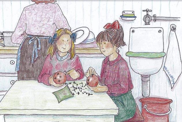 JULENELLIKAPPELSIN:Ettermiddags-syssel i advent. Å stikke nellikspiker i appelsin, og få til pent møster. Den gode duften av krydder og appelsin. Og barnetime på radioen. (Illustrasjon: Anne-Bjørg Celius)