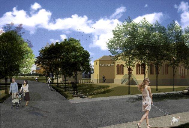 Bymuseum: BOARCH arkitekters perspektivskisse for den planlagte utbyggingen av Bymuséet. Illustrasjon: BOARCH