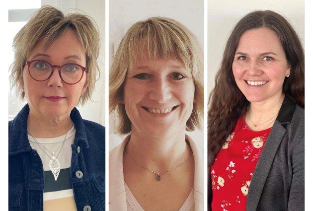 Fra venstre: Mari-Ann Benonisen (nestleder), Lena Røsæg Olsen (fylkesleder) og Åshild Østlyngen (nestleder), Norsk sykepleierforbund Troms og Finnmark