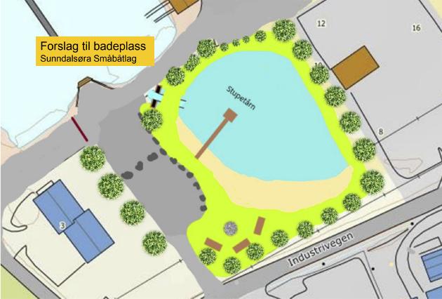 Dette viser hvordan Sunndalsøra småbåtlag ønsker seg den nye badeplassen. Her er det tegnet inn stupetårn og sandstrand. En rekke trær er plantet rundt.