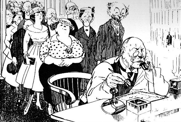 Jens R. Nilssen sin karikatur av spritlegar for hundre år siden. Synet på alkohol som helsefremmande er eit heilt anna i dag, skriv Eivind Hasle.