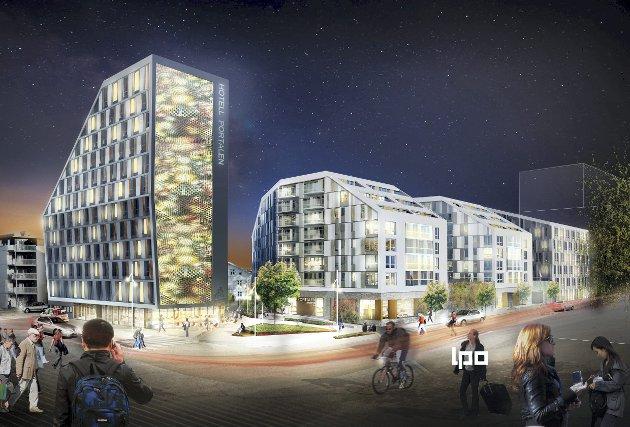 Det finnes ingen naturlig link mellom den nye og gamle bydelen av Lillestrøm. Folka som er tegnet inn i skissen er dessverre fraværende.