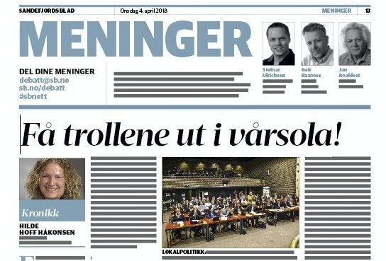 Den politiske debatten: Faksimile fra Sandefjords Blad 4. april.