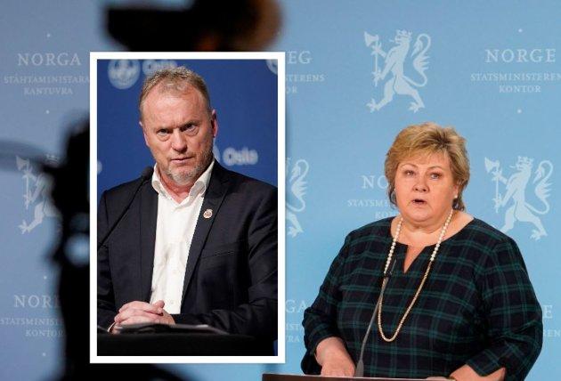 Oslos byrådsleder Raymond Johansen (Ap) og statsminister Erna Solberg (H).