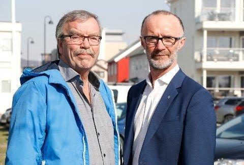 Gruppeleder for Sp Kurt Jenssen (t.v.)  og fylkesleder for Sp Svein Eggesvik