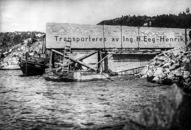 Spektakulært: Utskipningen av Monolittblokka fra Hov foregikk på spektakulært vis. Hanne Lund-Nilsen mener Halden har et stort potensial i å markedsføre stedet der vår fremste turistattraksjon opprinnelig befant seg.