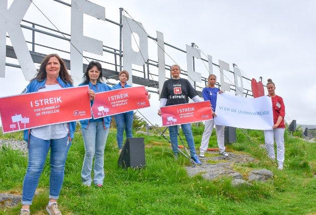 KS må straks komme på banen for å finne løsninger, for Norges velferd er avhengig av de uunnværlige Unio-medlemmene, skriver Hege Henden Nørbech (nummer tre fra høyre). Bildet er tatt under en støttemarkering i slutten av mai.