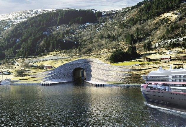 – Med skipstunnel på Stadt kan me få verdas grønaste hurtigbåtforbinding mellom Ålesund og Bergen. ILLUSTRASJON:  Kystverket.no