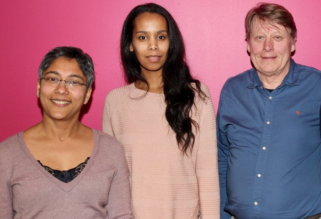 Rødt Nordstrands topp tre-kandidater. F.v. Rosmin Mathew, Idil Ali-Osman og Erik Hollie