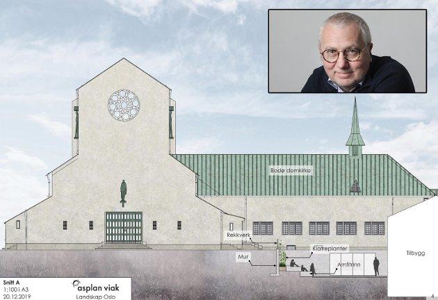 – Domkirken må gjerne pusses opp og bygges ut, men kommunen bør ikke bruke ei eneste krone på prosjektet, mener Børre Arntzen.
