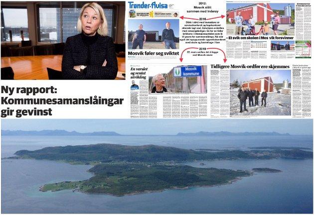 Med ein ny rapport som omhandlar Sandefjord, Inderøy og Harstad kommune (her frå Bjarkøy nederst) påstår Monica Mæland at samanslåingar gjev gevinst, men for hvem