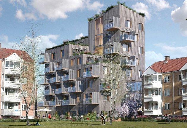 VÅRONNVEIEN: Terje Frøshaug synes det er trist å se utviklingen i drabantbyene i Oslo. Han drar frem det planlagte Obos-prosjektet i Våronnveien 17 som et skrekkeksempel. Illustrasjon: Helen & Hard