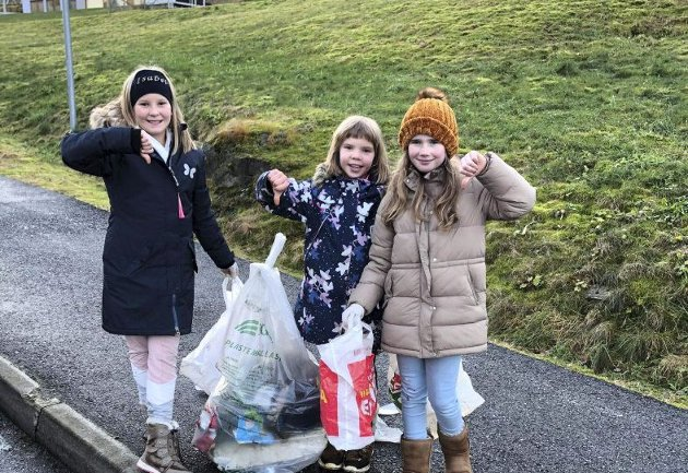 Dei tre jentene Isabel, Emine og Cecilie er opptekne av naturen og ryddar opp etter andre på heimstaden Seim i Alver. FOTO: PRIVAT