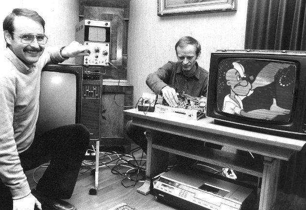 Moss radioverksted og kabel-tv. Johan Wibye og Tore Bjerk, 1982.