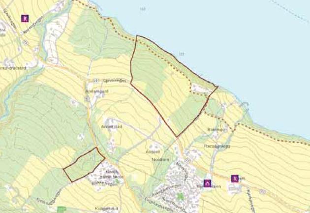 UTBYGGINGSOMRÅDET: Området innenfor den røde streken nede ved Mjøsa markerer utbyggingsområdet i Nordlia.