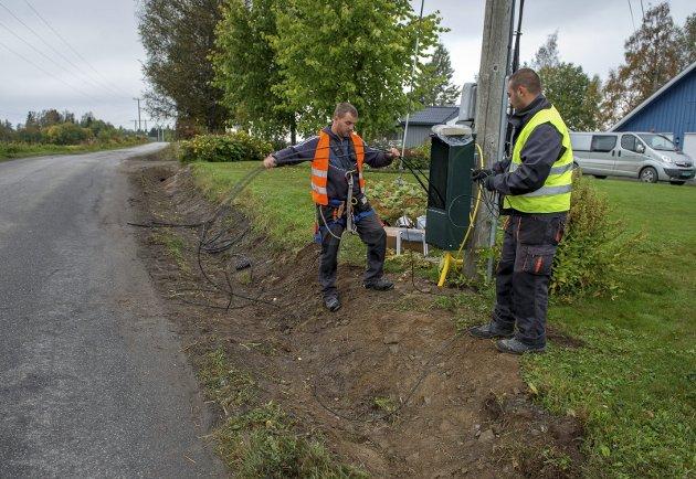 LIKE VIKTIG SOM STRØM: Bredbåndsgraving langs Sillongenvegen. De siste tre årene har det skjedd mye på bredbåndsfronten i Vestoppland.