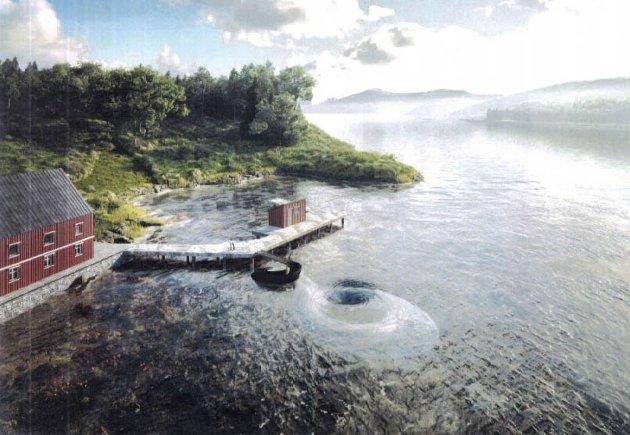 Slik ser man for seg at et undervannsobservatorium ved Ripnes i Saltstraumen kan bli. Skisse fra dispensasjonssøknaden.