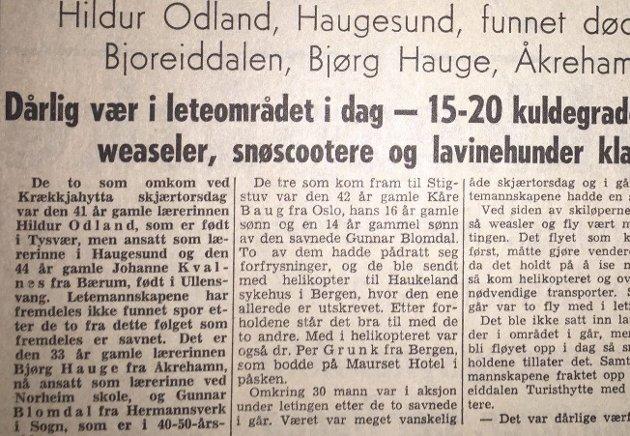 FAKSIMILIE: Haugesunds Avis 24. mars 1967.