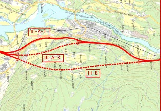 Kart: Skissen viser de tre aktuelle løsningene for ny E6 forbi Fåberg. Ill: Vegvesenet