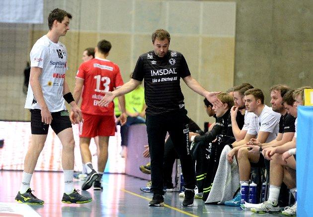 Elverum håndball herrer-Haslum HK. Terningen Arena. Michael Apelgren og Jonas Burud.
