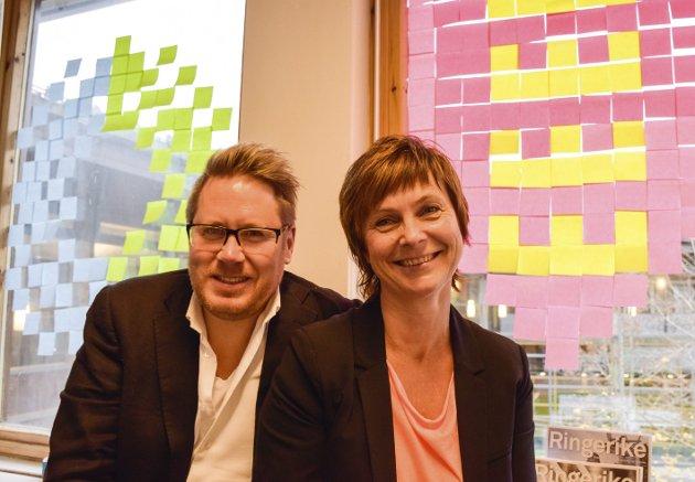 Godt team: Jørgen Moe og Tone Reneflot Thoresen, to av de ansatte i Ringerike utvikling.