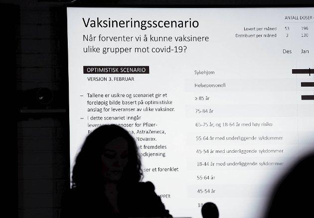 Folkehelseinstituttets nye anslag er at nasjonen i beste fall kan være vaksinert i september. I beste fall! FOTO: NTB