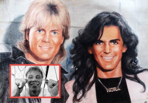 """MODERN TALKING: Thomas Anders og Dieter Bohlen var en kjent tysk popgruppe 80-tallet. Erik """"Pølsvev"""" Johansen mener Lars Jensen (innfelt) kunne blitt det tredje medlemmet."""