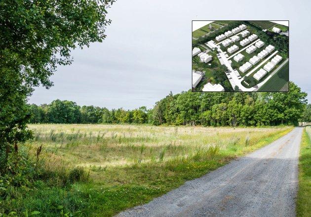 Bokeløkka, et nytt boligfelt på Brunla inneholdende 68 boenheter, kan bli en realitet på denne tomta. Foto: Lasse Nordheim