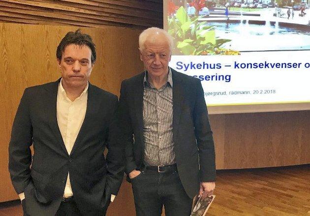 Hamarsinger: Rådmann Bjørn Gudbjørgsrud og ordfører Einar Busterud holder fortsatt Hamar som en sterk kandidat til å få et storsykehus. Og Busterud snakker stadig om Innlandshovedstaden. Men er det slik?