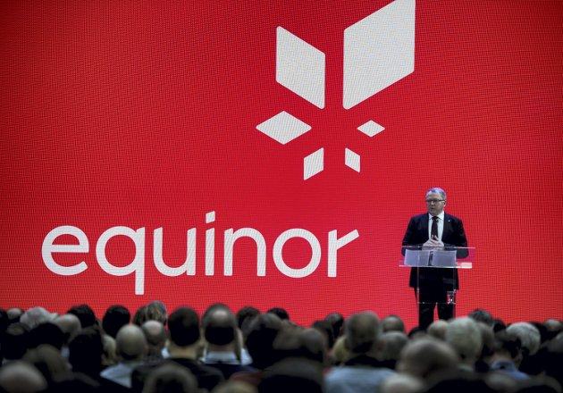 Statoil bytter navn til Equinor. Konsernsjef Eldar Sætre presenterer det nye navnet på allmennmøte i Stavanger. Foto: Carina Johansen / NTB scanpix