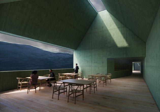 MIDTFJORDS: Restauranten vil bli delvis nedsenka i fjorden.