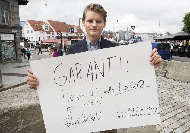 Peter Frølich med valgløftet.