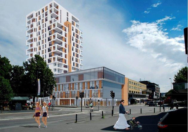 Shell-tomta: Slik kan det se ut dersom det skal bygges kulturhus i kombinasjon med leiligheter og hotellrom. Dette bygget er på 18 etasjer. ILLUSTRASJON: JAF Arkitektkontor