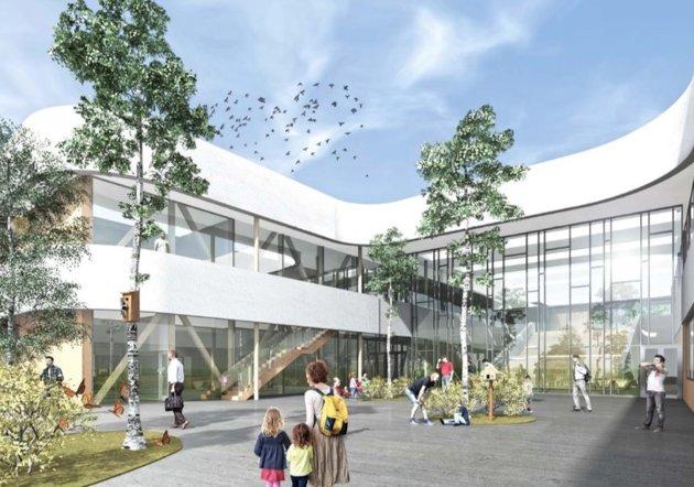 Skissene som nå foreligger viser hvordan nye Torvbråten skole vil bli seende ut.