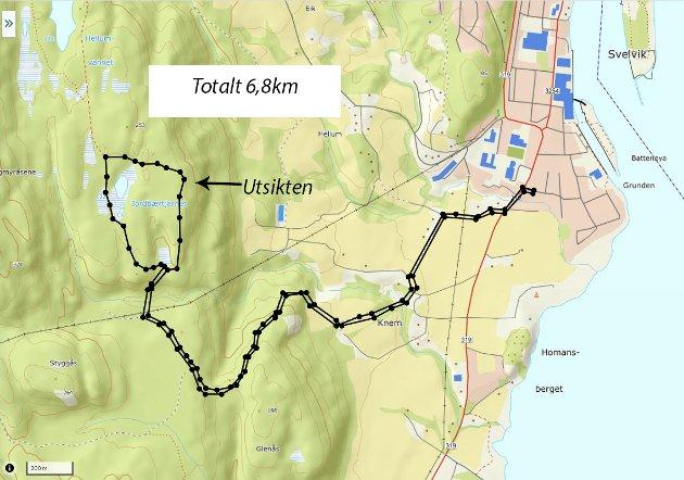 Kart:  Her er kartet over dagens tur som fulgte merkede stier hele veien.  Vi brukte appen UT.no til å finne stiene og til å lage dette kartet.  Runden på toppen gikk først til Utsikten og så rundt Jordbærtjernet tilbake.  Hele turen fra sentrum i Svelvik og tilbake var på 6,8km.