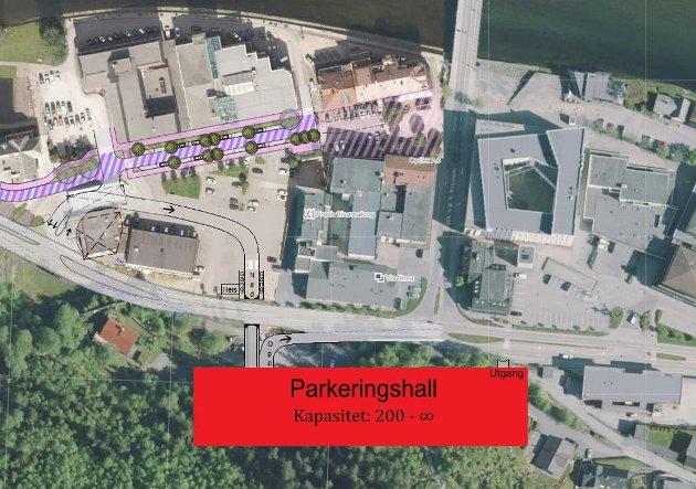 PARKERINGSHALL: Den beste løysinga for Sentrum Sør vil være ein parkeringshall i Hafstadfjellet, skriv artikkelforfattaren. Bildet viser ei konseptskisse av parkeringshall i Hafstadfjellet